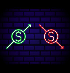glowing neon up and down arrows with dollar vector image