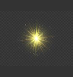 Golden star transparent glow light effect vector