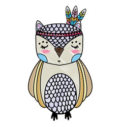 Grated cute owl animal with feathers design vector