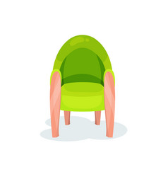 Green cozy armchair living room furniture vector