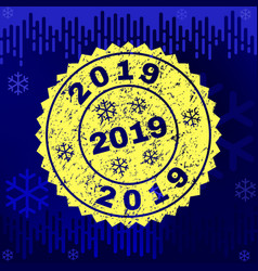 grunge 2019 stamp seal on winter background vector image
