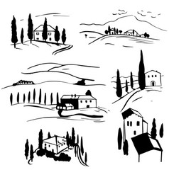 hand drawn landscapes tuscany sketch vector image