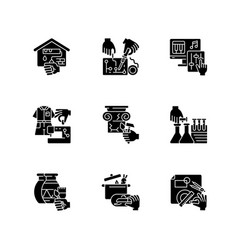 handicraft black glyph icons set on white space vector image