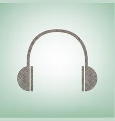 headphones sign brown flax vector image