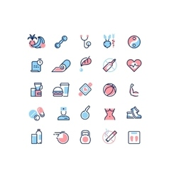 Healthy life and fitness line icons vector