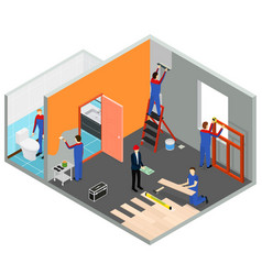 Interior renovation room or house isometric view vector