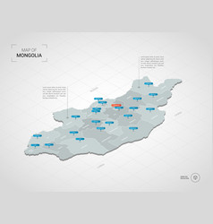 Isometric mongolia map with city names and vector