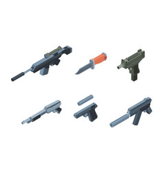 isometric weapons automatic gun arms for warriors vector image