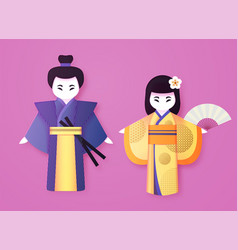 japanese couple in traditional clothing man and vector image