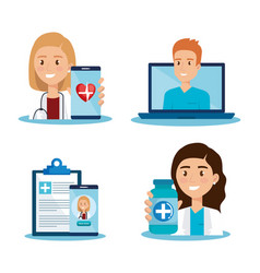 Laptop with doctor and telemedicine icons vector