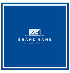 Letter ah rectangle logo design vector