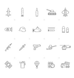 line army weapon and arms icons vector image