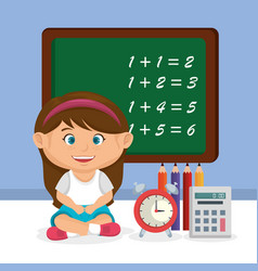 little schoolgirl with chalkboard vector image