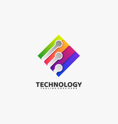 logo technology gradient colorful style vector image
