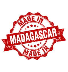 made in madagascar round seal vector image