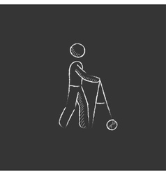 Man with walker Drawn in chalk icon vector