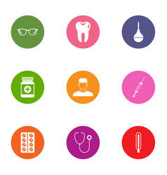 Medical intervention icons set flat style vector