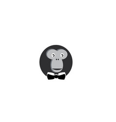 monkey head with face smile and tie for logo vector image