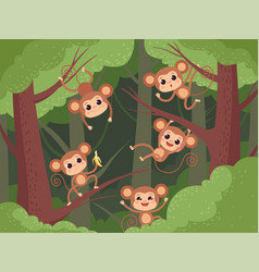 Monkey in jungle wild little animals playing on vector