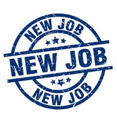 New job blue round grunge stamp vector