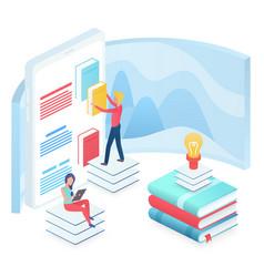 Online education isometric vector