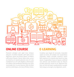 Online education line template vector