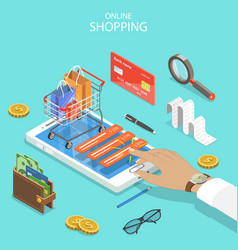 Online shopping flat isometric concept vector