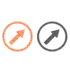 Pixel up-right rounded arrow mosaic icons vector