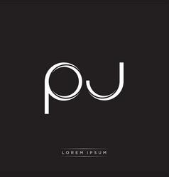 Pj initial letter split lowercase logo modern vector