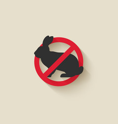 Rabbit silhouette pest icon stop sign vector