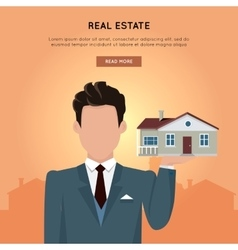 Real Estate Web Banner in Flat Design vector