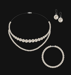 realistic set of jewelry pearl necklace bracelet vector image