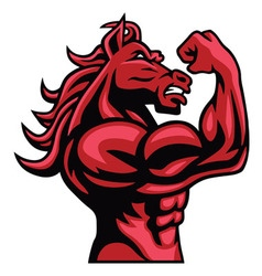 Red horse bodybuilder posing his muscular body vector