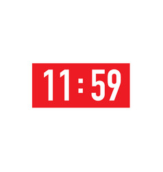 Red square retro wall clock to 12 hour 11 59 23 vector