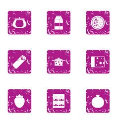 refrigerator food icons set grunge style vector image