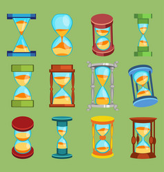 Sandglass watches time glass tools icons vector