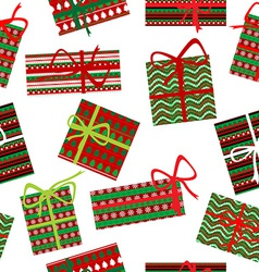 Seamless pattern with Christmas gift boxes vector