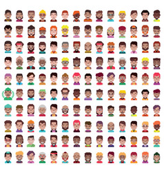 set 100 men and women avatars in flat vector image