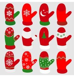 Set christmas mittens vector