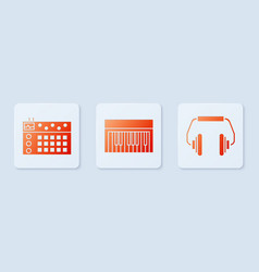 set music synthesizer drum machine and headphones vector image