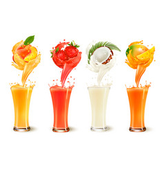 Set of fruit juice splash in a glass strawberry vector