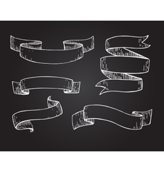 Set of hand drawn scrolled ribbons on vector image