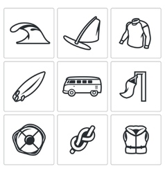 Set of Surfing and Windsurfing Icons Wave vector
