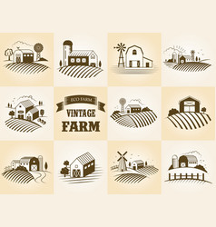 set of vintage eco farm label landscapes vector image