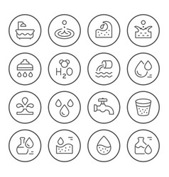 set round line icons water vector image