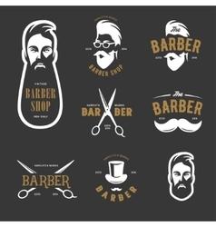 set vintage barber shop emblems label vector image