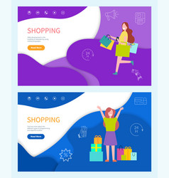 shopping standing and running happy girls vector image