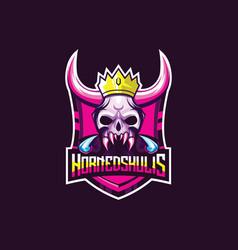 Skull hornet logo premium vector