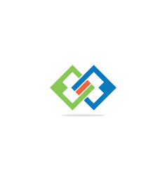 square connect colored company logo vector image