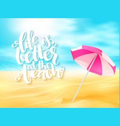 summer travel banner with sun umbrella vector image